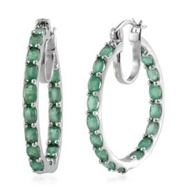 Kagem Zambian Emerald (Ovl) Hoop Earrings (with Clasp) in Platinum Overlay Sterling Silver 7.250 Ct.