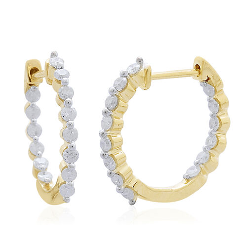 9K Yellow Gold 0.50 Carat Diamond Inside Out Hoop Earrings (with Clasp) SGL Certified I3 G-H