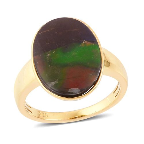 AAA Canadian Ammolite (Ovl) Solitaire Ring in Yellow Gold Overlay Sterling Silver 6.000 Ct.