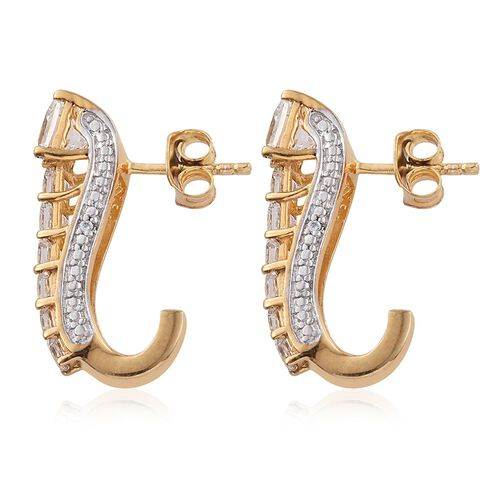 J Francis - 14K Gold Overlay Sterling Silver Princess Cut (Sqr) J Hoop Earrings (with Push Back) Made with SWAROVSKI ZIRCONIA
