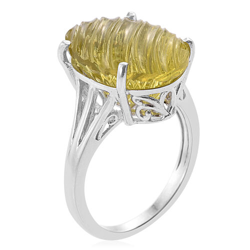 Premium Laser Cut Natural Green Gold Quartz (Ovl) Ring in Platinum Overlay Sterling Silver 13.750 Ct.