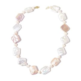 ILIANA 18K Y Gold AAAA Organic Keshi Pearl and Fresh Water White Pearl Necklace (Size 18)