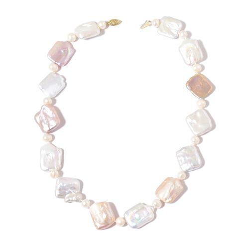 ILIANA 18K Yellow Gold AAAA Organic Keshi Pearl and Fresh Water White Pearl Necklace (Size 18)