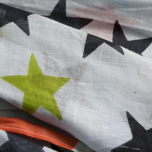 White, Black and Multi Colour Stars Printed Kaftan (Free Size)