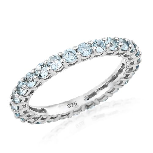 AA Espirito Santo Aquamarine (Rnd) Full Eternity Ring in Platinum Overlay Sterling Silver 1.500 Ct.