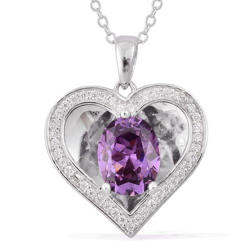 AAA Simulated Amethyst and Simulated White Diamond Pendant With Chain in Rhodium Plated Sterling Silver