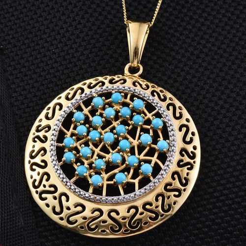 Arizona Sleeping Beauty Turquoise (Rnd) Pendant with Chain in 14K Gold Overlay Sterling Silver 2.000 Ct.