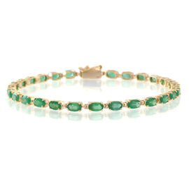 One Time Exclusive Deal- 9K Yellow Gold AAA Kagem Zambian Emerald (Ovl) Bracelet (Size 7.5) 6.000 Ct.
