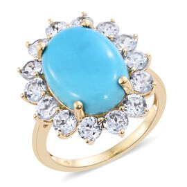 Collectors Edition- 9K Yellow Gold AAA Very Rare Size Sleeping Beauty Turquoise (Ovl 18x13 mm), Natural Cambodian Zircon Ring 14.000 Ct.