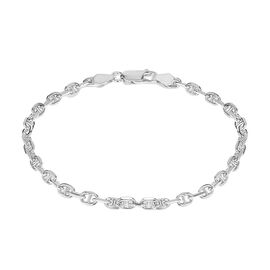 JCK Vegas Collection Rhodium Plated Sterling Silver Mariner Bracelet (Size 7), Silver wt. 5.20 Gms.