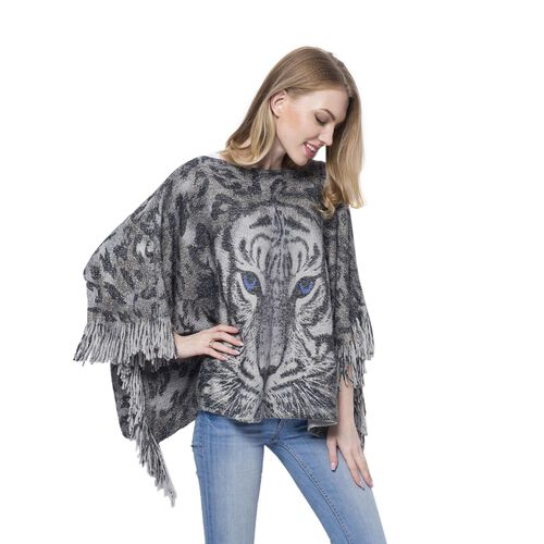 3D Digital Printed Tiger Silver and Grey Colour Poncho (Size 130x62 Cm)