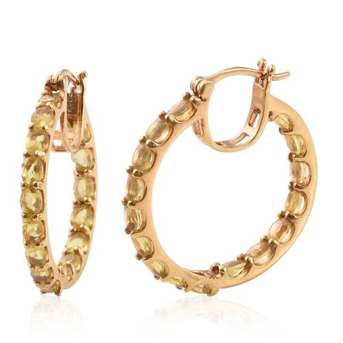 Natural Canary Opal (Ovl) Hoop Earrings (with Clasp) in 14K Gold Overlay Sterling Silver 4.000 Ct.