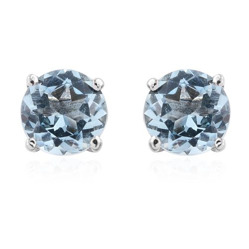 Espirito Santo Aquamarine 1 Carat Round Solitaire Stud Earrings with Push Back in Platinum Overlay Sterling Silver