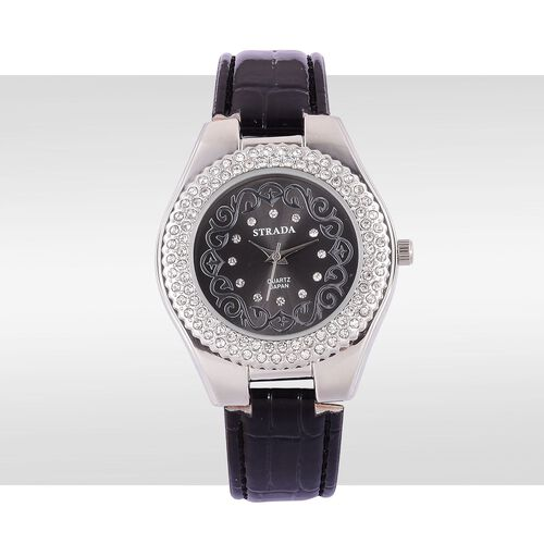STRADA Japanese Movement White Austrian Crystal Studded Black Dial Water Resistant Watch in Silver Tone with Stainless Steel Back and Black Strap