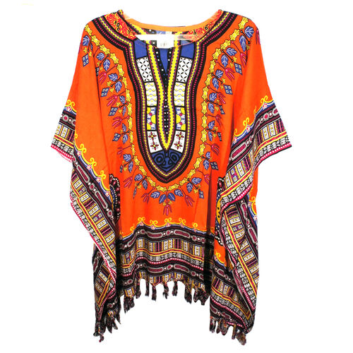 Bali Collection - 100% Rayon Orange and Multi Colour Mandala Ethnic Motif Poncho (Free Size)