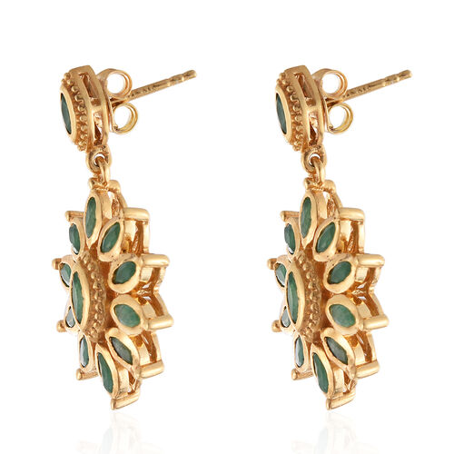 Kagem Zambian Emerald (Mrq) Earrings (with Push Back) in 14K Gold Overlay Sterling Silver 2.000 Ct.