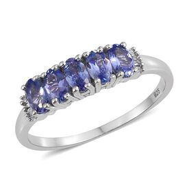 Tanzanite (Ovl), Diamond Ring in Platinum Overlay Sterling Silver 1.250 Ct.