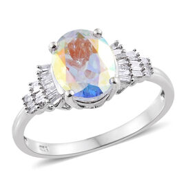 Limited Edition - AAA Mercury Mystic Topaz (Ovl 2.80 Ct), Diamond Ring in Platinum Overlay Sterling Silver 3.000 Ct.