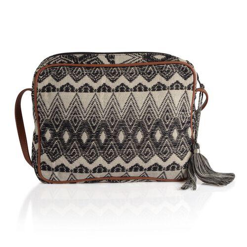 Black and White Colour Crossbody Bag (Size 28x22x4.5 Cm)