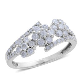 9K White Gold SGL Certified Diamond (I3 G-H) Triple Floral Ring 1.000 Ct.