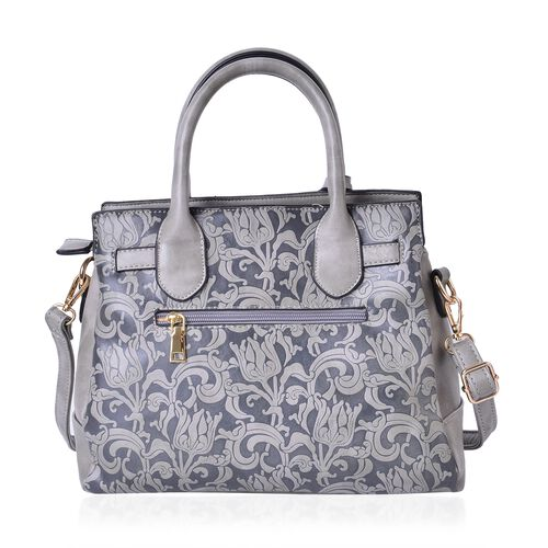 Chelsea Cashmere Grey Baroque Embossed Tote Bag with External Zipper Pocket and Adjustable and Removable Shoulder Strap (Size 29X25X10.5 Cm)