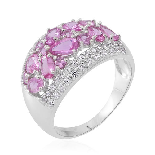 9K White Gold AA Pink Sapphire (Pear), Natural White Cambodian Zircon Ring 4.600 Ct. Gold Wt 5.30 Gms