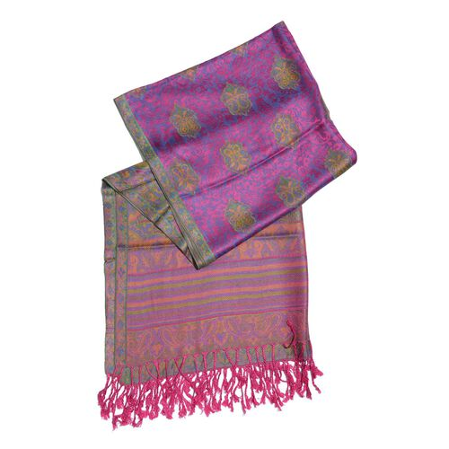 Pink, Purple and Multi Colour Scarf with Tassels (Size 180x70 Cm)