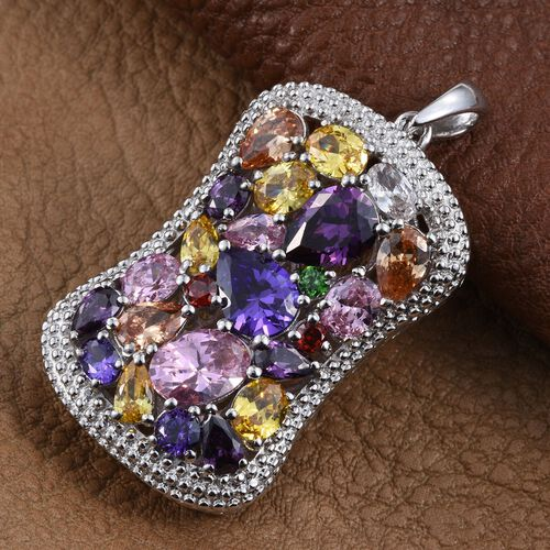 AAA Simulated Pink Sapphire (Ovl), Simulated Tanzanite, Simulated Amethyst, Simulated Citrine, Simulated Emerald and Multi Gem Stone Pendant in ION Plated Platinum Bond