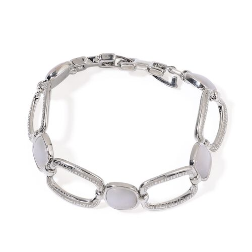 Simulated White Cats Eye Bracelet (Size 7) in Silver Tone