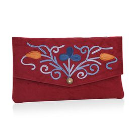 Maroon, Blue and Multi Colour Floral Hand Embroidered Suede Clutch (Size 20X12 Cm)