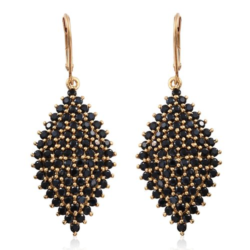 Boi Ploi Black Spinel (Rnd) Lever Back Earrings in 14K Gold Overlay Sterling Silver 7.250 Ct. Silver wt. 8.22 Gms.