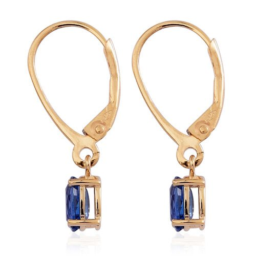 ILIANA 18K Y Gold AAA Ceylon Sapphire (Ovl) Lever Back Earrings 1.000 Ct.