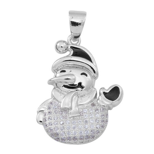 ELANZA AAA Simulated Diamond (Rnd) Snowman Pendant in Rhodium Plated Sterling Silver