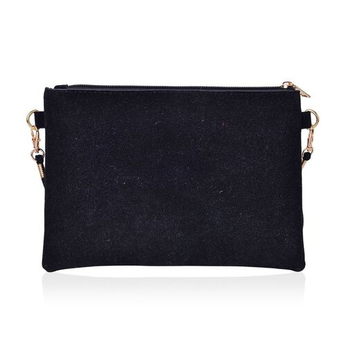 Classic Black Floral Embroidered Velvet Crossbody Bag with Removable Shoulder Strap (Size 23X16 Cm)