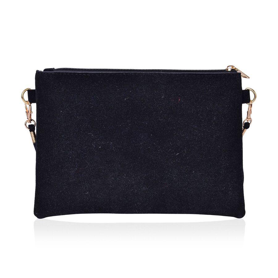 Classic Black Floral Embroidered Velvet Crossbody Bag With Removable Shoulder Strap (Size 23X16 ...