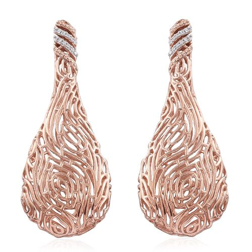 J Francis - Rose Gold Overlay Sterling Silver (Rnd) Filigree Earrings (with Push Back) Made with SWAROVSKI ZIRCONIA