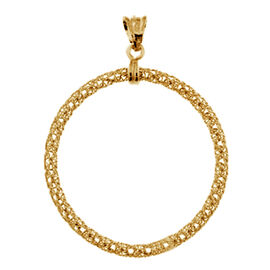Italian Made-Yellow Gold Overlay Sterling Silver Circle Pendant