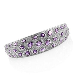 Amethyst (Ovl), Natural Cambodian Zircon Bangle (Size 7.5) in Platinum Overlay Sterling Silver 12.500 Ct.