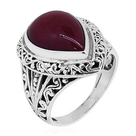 Royal Bali Collection Sponge Coral (Pear) Ring in Sterling Silver 12.000 Ct.