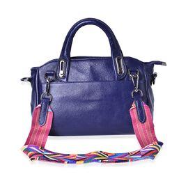100% Genuine Leather Navy Blue Colour Tote Bag with Multi Colour Removable Shoulder Strap (Size 32x28x12x20)