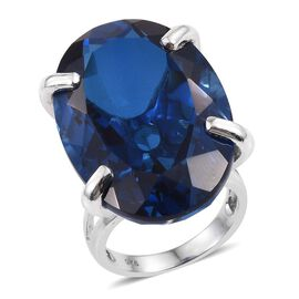 Ceylon Colour Quartz (Ovl) Ring in Platinum Overlay Sterling Silver 50.000 Ct.
