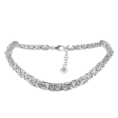 JCK Vegas Collection 9K White Gold Byzantine Necklace (Size 18 with 3 inch Extender), Gold wt. 12.76 Gms.