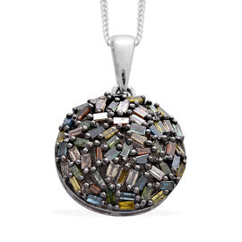 Designer Inspired- Fancy Rainbow Diamond Fireworks Pendant in Black Rhodium and Platinum Overlay Sterling Silver Diamond Wt. 0.500 Ct.