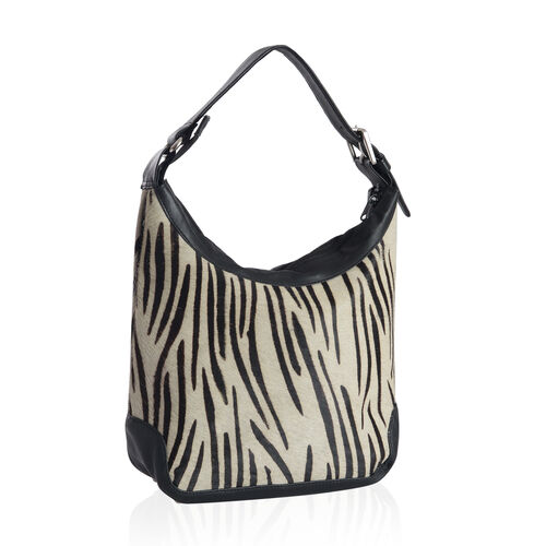 Genuine Leather Zebra Pattern Black and White Colour Handbag with External Zipper Pocket and Adjustable Shoulder Strap (Size 33x23x11 Cm)