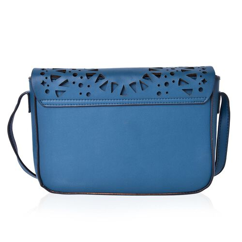 Teal Colour Lazer Cut Pattern Crossbody Bag with Adjustable Shoulder Strap (Size 23.5X17X6.5 Cm)