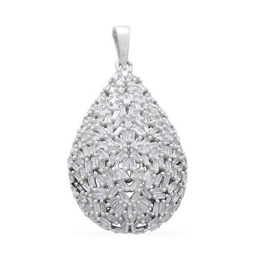 Designer Inspired 9K White Gold SGL Certified Fire Cracker Diamond (Bgt) (I3/G-H) Tear Drop Pendant 1.000 Ct. 4.27 Grams Gold Number of Diamonds 180