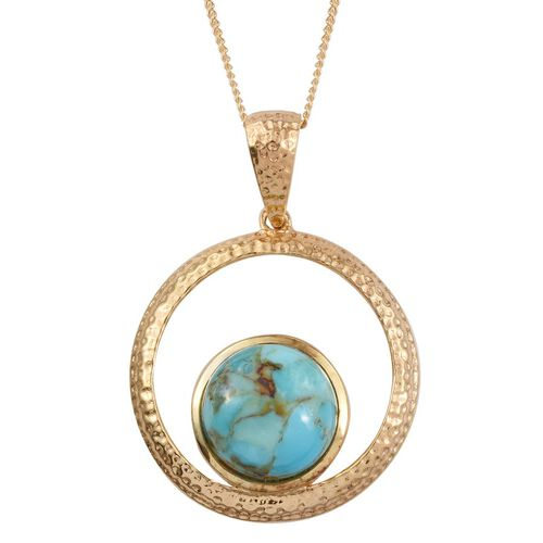 Arizona Matrix Turquoise (Rnd) Solitaire Pendant With Chain in 14K Gold Overlay Sterling Silver 2.750 Ct.