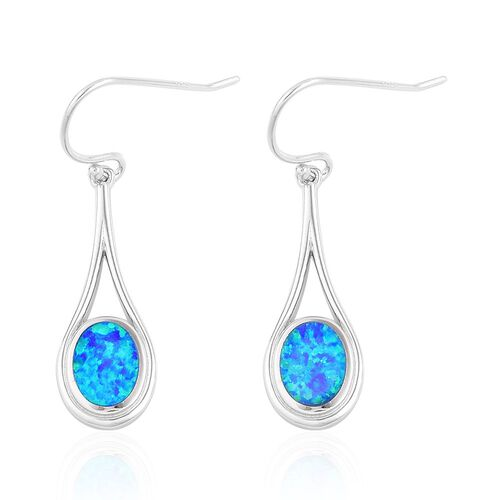 New Concept - AAAA Simulated Ocean Blue Opal  Hook Earrings in Rhodium Plated Sterling Silver