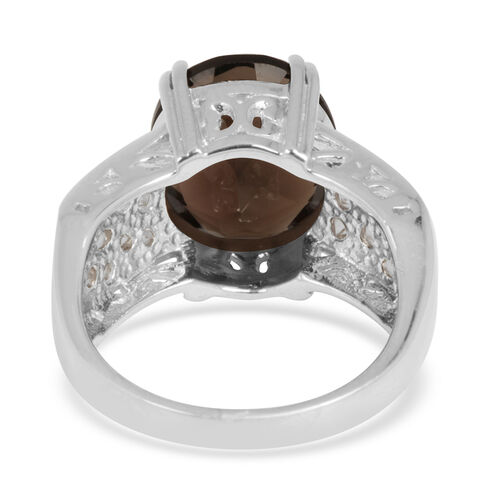 Brazilian Smoky Quartz (Ovl 4.35 Ct), White Topaz Ring in Sterling Silver 5.150 Ct.
