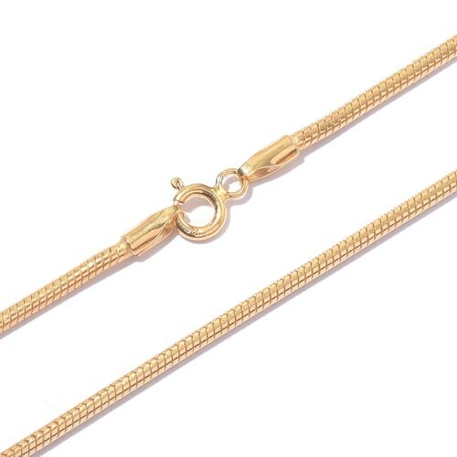 Super Auction - Vicenza Collection 14K Gold Overlay Sterling Silver Snake Chain (Size 30), Silver wt. 17.63 Gms.